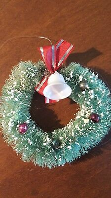 Vintage Christmas FLOCKED Bead Decorated Bottle Brush Tree WREATH Ornament Bell