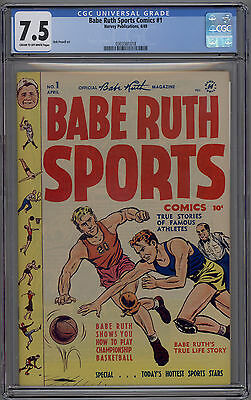 Babe Ruth Sports Comics # 1 CGC 7.5 VF- 1949 Harvey Publications HTF Bob Powell