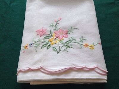 1 Vintage White Cotton Pillowcase W/ Floral Embroidery and Applique #20