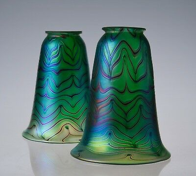 """2.25"""" Fitter Green Iridescent Glass Art Nouveau Arts and Crafts Style Lamp Shade"""