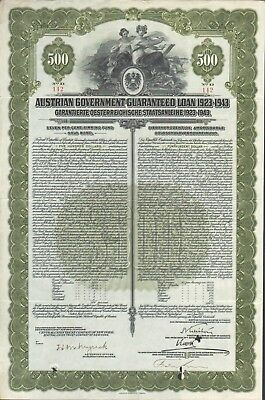 Austrian Government Guaranted Loan 1923 - 43 über 500 $