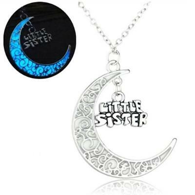 Glow in the Dark Little Sister Moon Pendant Necklace Silver Jewellery Gift - UK
