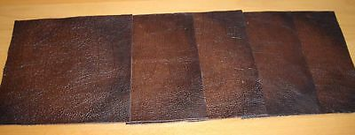 leather craft pieces scrap offcuts Antiqued Brown Real Leather 5 X pieces