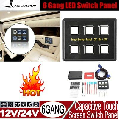 6 Gang LED Back Capacitive Touch Screen Marine Boat Caravan Switch Panel 12V M2