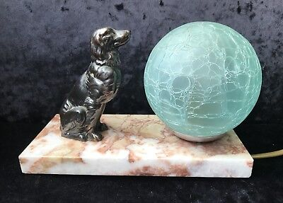 French Art Deco Marble Mood Lamp With Copper Dog - Original Shade
