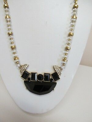 "J.Crew 24"" Rhinestone Statement Necklace With Gold Tone Chain & Beads"