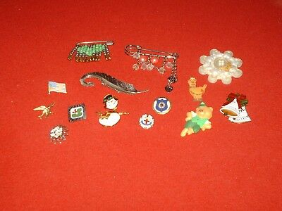 Estate sale jewelry lot of 14 vintage to now brooches pins FREE SHIPPING