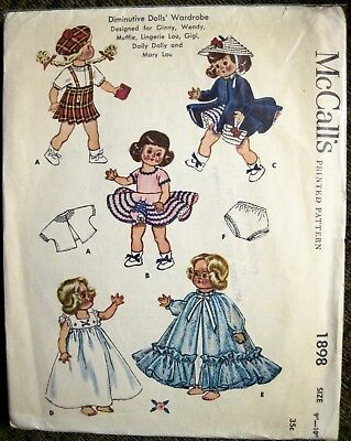 """Vtg 1954 McCall's Diminutive Doll Clothes Pattern Ginny Style Doll Sz 9""""- 10"""""""