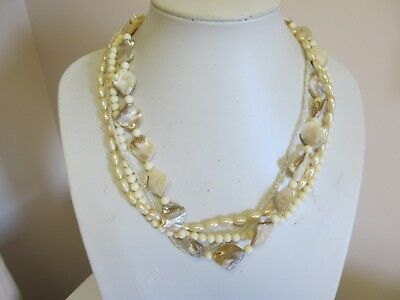 Vintage Avon 4 Strand Polished Shell Faux Pearl Bead Necklace