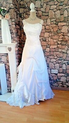 Stunning Diamond White Silk And Lace Wedding/evening Gown Size 14