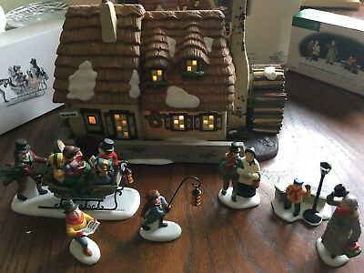 Christmas Carol Cottage Dickens Village W/Morning figures & Cratchit Family