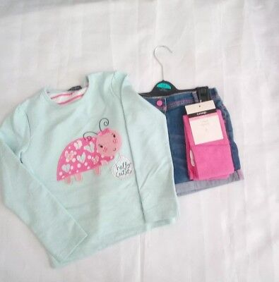 George 5/6 Yrs Little Girls Shorts/Tights & Long Sleeve T Shirt Set