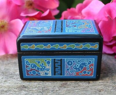 Sweet Little Blue Lacquer Box with Storks & Rabbits Mexican Folk Art Handmade