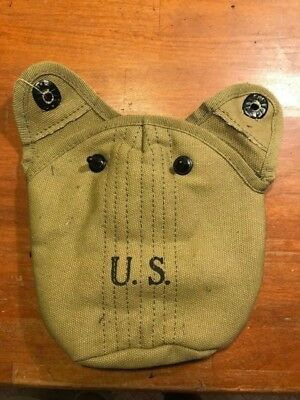 WWII US Army M1928 Khaki Canteen Cover Carrier