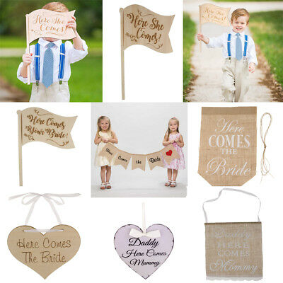 Here Comes the Bride Rustic Vintage Handhold Flag Bunting Rustic Wedding Decor