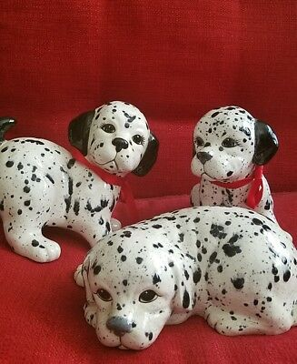 Dalmation Puppy Statues Figurines Set Of 3 dog