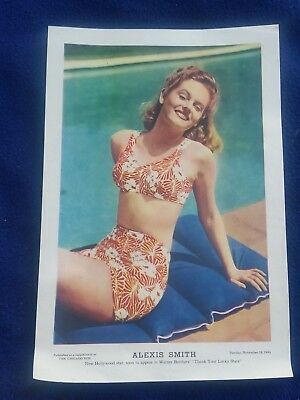 Chicago Sun WWII Girlie Pinup Insert November 28, 1943 Movie Star Alexis Smith