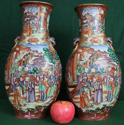 A huge pair of Chinese Qianlong period (1735-1796) famille rose Mandarin vases
