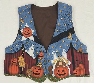 Womens Halloween Vest Sz L Country Witches and Pumpkins Leslie Beck Material