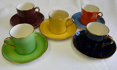Unusual Set of 5 x Crown Devon Coffee Cups And Saucers, Mismatched set of five