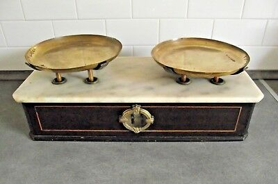 Great Set French Antique Early 1900s Marble Wood and Brass Patisserie Scales 718