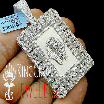 Real Diamond Miami Cuban Egyptian Pharaoh King Tut Pendant 10K White Gold Finish
