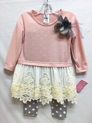 New Peaches & Cream Girl's Toddler Pink & Grey Polka Dot & lace Pants Set