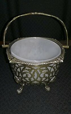 Vintage antique silver/ plate? basket white glass insert filigree with a handle
