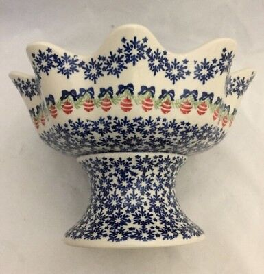NEW Boleslawiec Polish Pottery Christmas Pedestal Bowl Ornament Snowflake Design