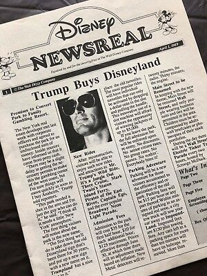 Trump Buys Disneyland - Very Rare April Fools Disney Studios Newsletters - 1988