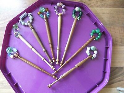 8 Vintage Nicely Decorated Turned Wood Lace Maker's Bobbins / Glass Beads