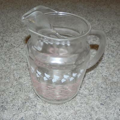 #1702 Vintage 2 Qt. 1950's Atomic Federal Pitcher Clear White Leaves Pink Wicker