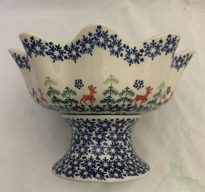 NEW Boleslawiec Polish Pottery Christmas Pedestal P Bowl Reindeer Pine Tree