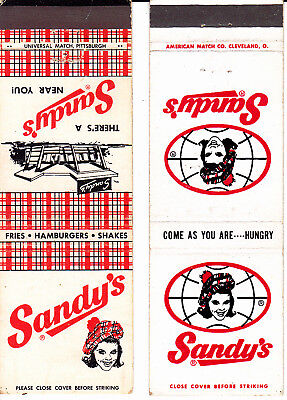 VINTAGE Matchbook Covers:  .......SANDY'S HAMBURGERS