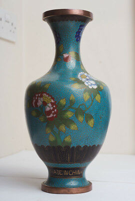 Chinese Turquoise Cloisonne Vase with Floral Decoration Made In China
