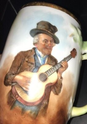 Antique 1909 Dated Hand-Painted Man With Guitar Ceramic Beer Mug Rare