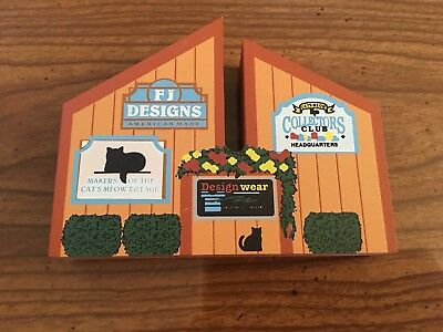New FJ Designs Makers Of Cat's Meow Village 1997 Wood Shelf Sitter Building