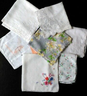 Vintage Handkerchief Hanky Lot of 7 Print Embroidered