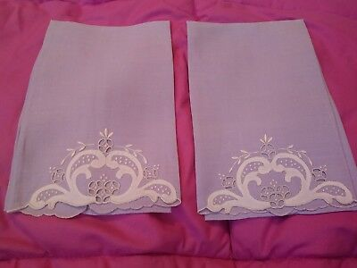 "2 Beautiful Lavender Madeira Embroidered  Linen Hand Towels 17 1/2"" x 11 1/2"""