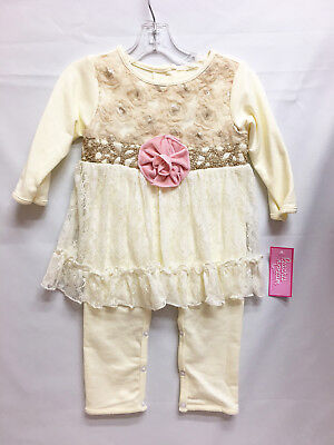 Peaches & Cream Baby Girl's Infant Ivory & Pink Fancy Pant Set Outfit 18M or 24M