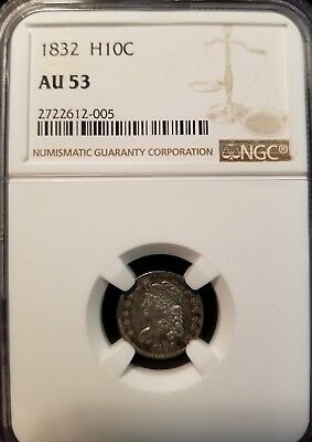 1832 Capped Bust Half Dime H10C Ngc Au 53 High Grade Great Original Luster !!!