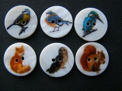 JOB LOT 50 Vintage style Shell /mother of pearl buttons-Birds and Animals Mix