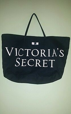 Victoria's Secret Black with Pink Lettering and Bow Overnight Tote/Purse/Bag