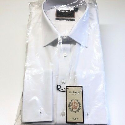 """THOMAS PINK White Shirt 17"""" Neck The IMPERIAL 170s Cotton Double Cuff SLIM Fit"""