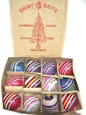 12 VINTAGE SHINY BRITE STRIPE GLASS UNSILVERED CHRISTMAS TREE ORNAMENTS in BOX