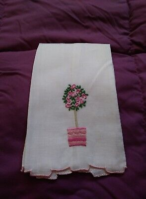 """Flower Pot Design White Linen  Embroidered Hand Towel 13"""" by 8"""""""