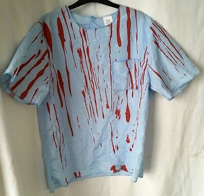 Blue Red Blood Unisex 2 Piece Fancy Dress Horror Outfit Size Small