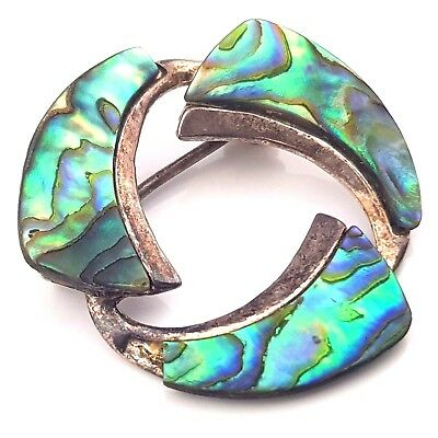 Vintage Jewellery Signed Ataahua Sterling Silver New Zealand Paua Shell Brooch