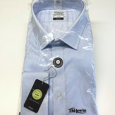 """T.M.LEWIN Shirt 20"""" Neck NON IRON White Blue Bengal Striped SLIM FIT Double Cuff"""