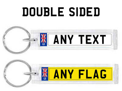 Personalised Number Plate Keyring Acrylic Car Keychain Any Country Flag Any Text